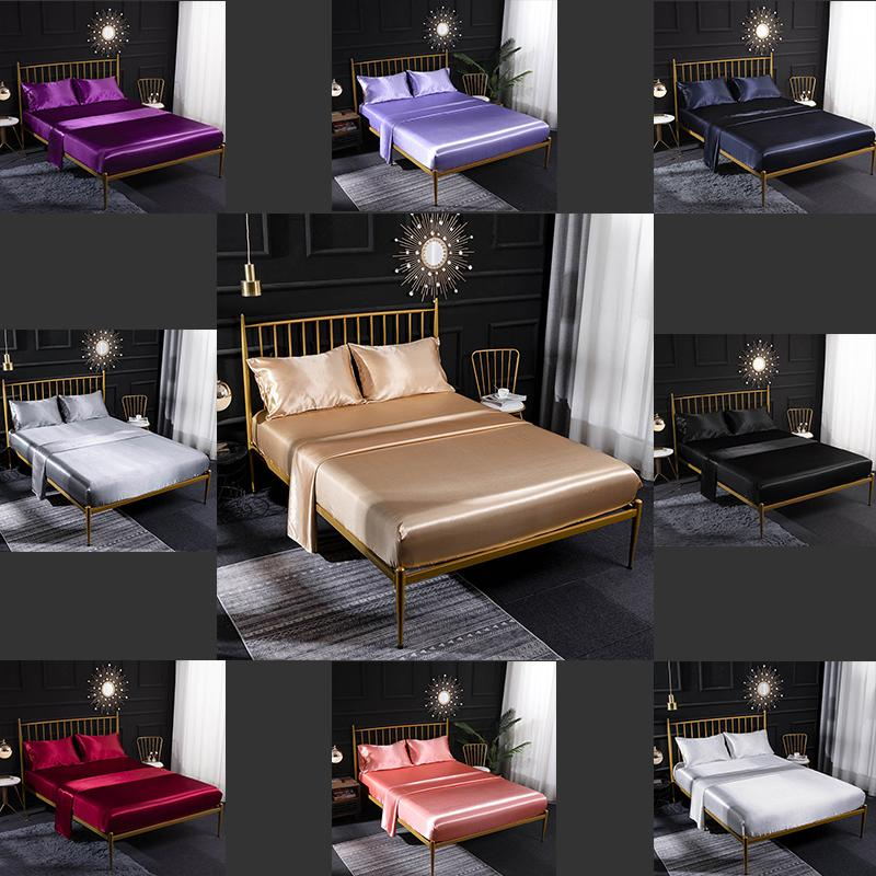 1 Designer Bed Quilt Luxury Bed Cover Extra Large Luxury Bedding Set Four-Piece Set European and American Home Ice Silk Silk Satin Color