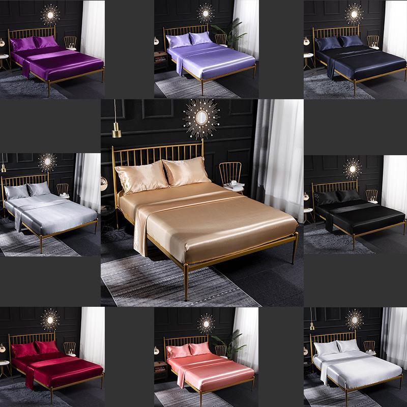 1 Designer Cama Quilt cama de luxo Capa Extra Large Luxury Bedding Set Four-Piece Set Europeu e American Home Ice Silk Silk Satin Cor