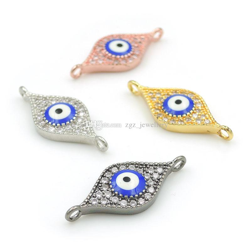 22*9*3mm Micro Pave Clear CZ Eye Charm Connector With Enamelling Blue Eye Fit For Men And Women Making Bracelets Jewelry