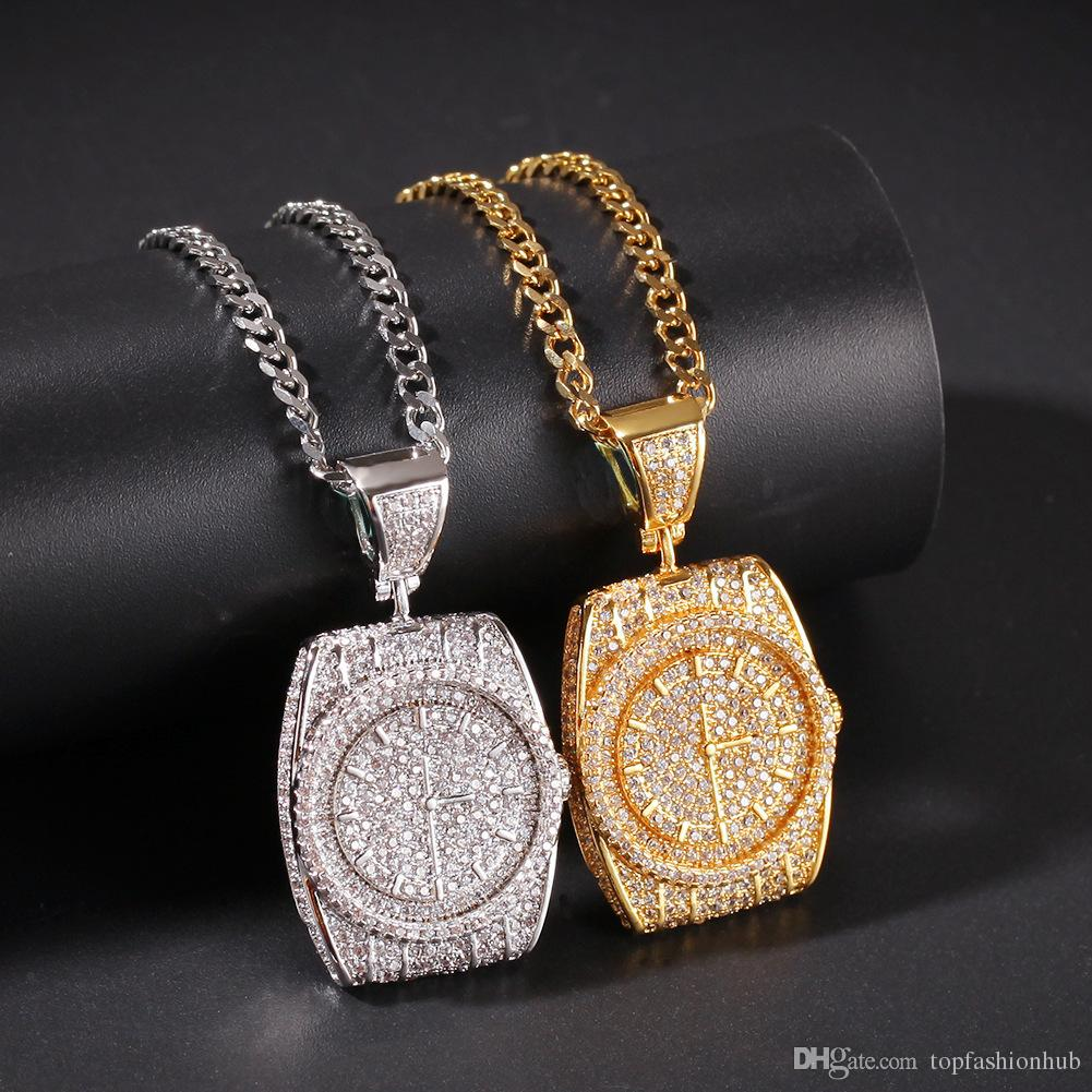 Zircon Dial Pendant Watch clock Pendant Hip Hop Cuban twist chain In Europe and America
