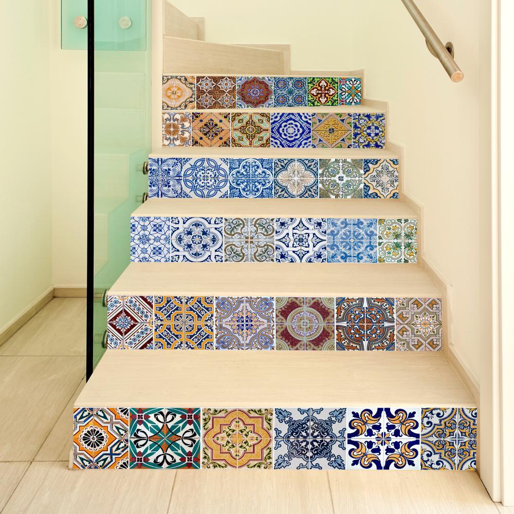 padrão Funlife Igreja DIY Stairway Sticker, Retro Azulejo Andar Mural decalques para Decoração, Barroco cartaz, religião