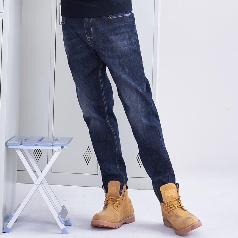 Pioneer Camp kalın yün sıcak jean erkekler marka giyim sonbahar kış siyah kot pantolon erkek kaliteli katı pantolon ANZ710001 Y200116