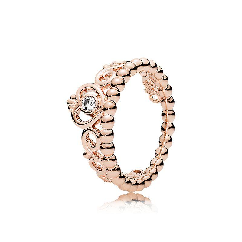 18K Rose gold CZ Diamond Crown Ring Set Original Box for Pandora 925 Sterling Silver My Princess Tiara Rings Set Women Wedding Jewelry
