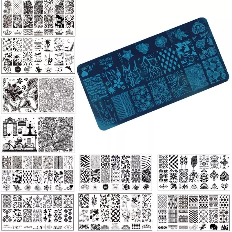 10pcs / lot Nuovo acciaio inossidabile Nail Template Nail Art Stamping Image Plate Manicure Stencil Tools