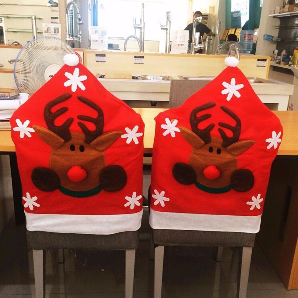 New Design Xmas Style Home Seat Cover Christmas Deer Santa Claus Chair Cover Chairs Ornaments Home Decoration Accessories
