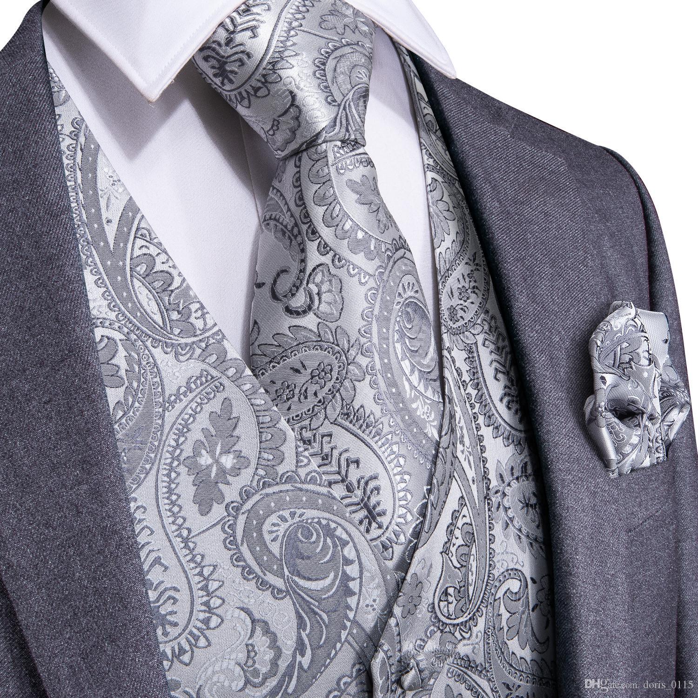 Hızlı Kargo Erkek Klasik Sliver Paisley İpek Jakar Yelek Yelek Mendil Kol Düğmeleri Parti Düğün Tie Yelek Suit Set MJ-0103