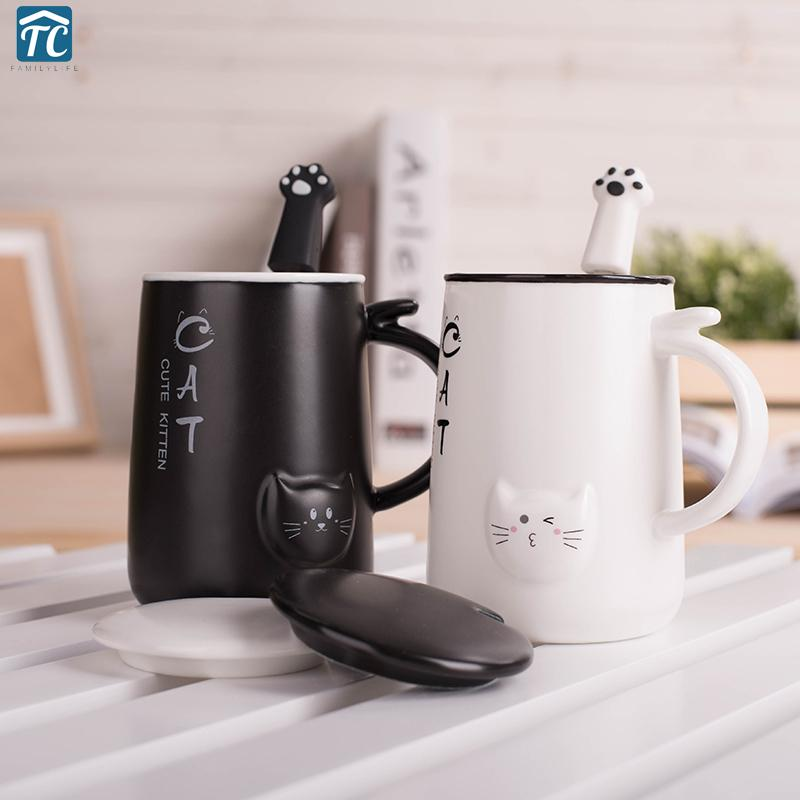 Cute Cat 400ml Cafe Coffee Mug Drinking Cups Large Capacity Style Ceramic Milk Breakfast Mugs Water Tea Big Cup Drinkware Q190430