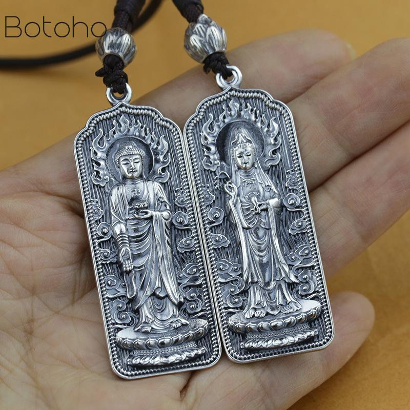 100% 999 Silver colour Tibetan Amitabha Buddha Statue necklace Pendant Buddhist Kuanyin Pendant Tibetan Avalokitesvara