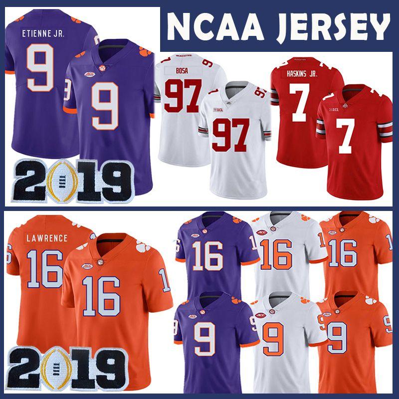 NCAA 16 Trevor Lawrence Clemson Tigers College Jersey 9 Travis Etienne Jr. Ohio State Buckeyes 97 Nick Bosa 7 Dwayne Haskins JR University