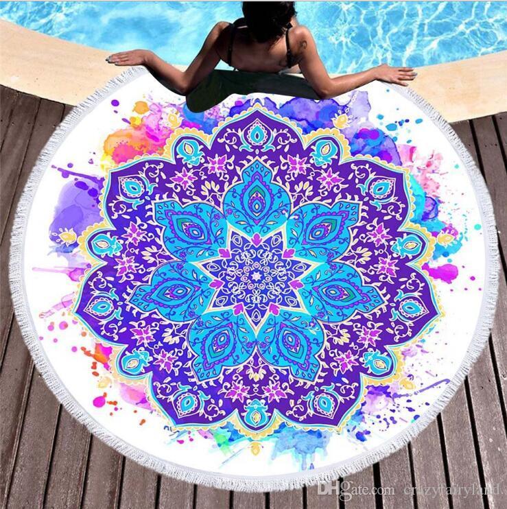 150cm Round Beach Towel 2017 Summer Beach Tassel Tapestry Towel for Adults Geometric Flag Swimming Sunbath Large Beach Towels 119