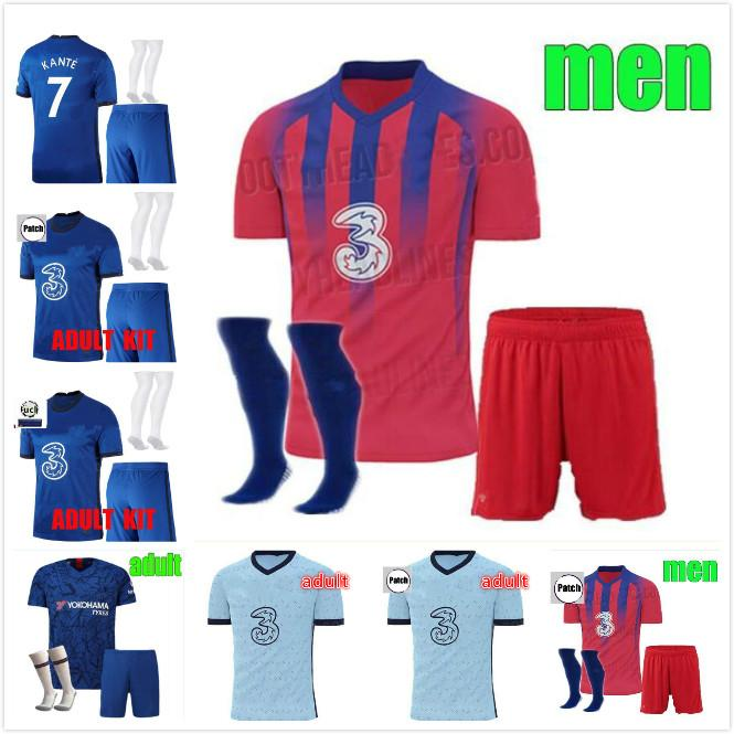 Thaïlande WERNER PULISIC KANTE ABRAHAM MOUNT maillots de football ZIYECH 2019 2020 2021 Camiseta de chemise adulte de football 19 20 21 ENSEMBLES HOMME ENFANT