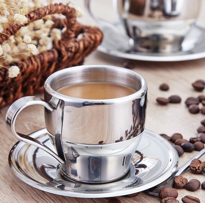 160ml di caffè dell'acciaio inossidabile Tea Set Double Layer tazza di caffè Tazze Espresso tazza di latte tazze con Piatto e cucchiaio GGA2646