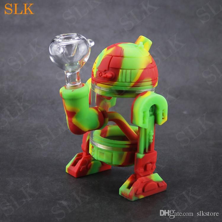 Современный робот дизайн стеклянный водный бонг 14 мм стеклянная чаша мини-бонги Съемный силиконовый защитный стекло стеклянный барбогреватель курение трубы силиклабовые упаковки