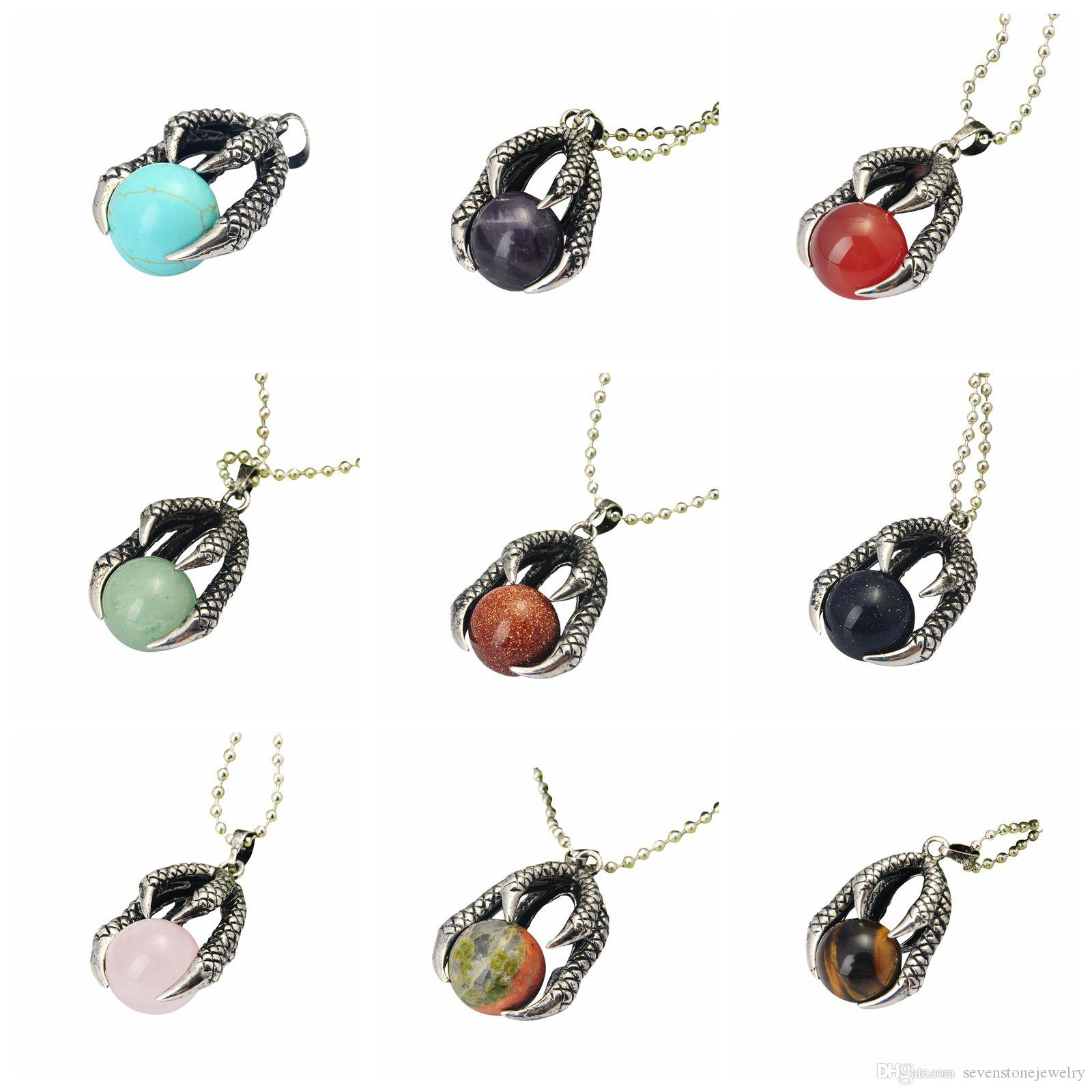 Men Jewelry Antique Silver Tribal Pendant Necklace Vintage Embossed Dragon Claw Round Natural Stone Bead Ball Pendants Necklaces SP0176