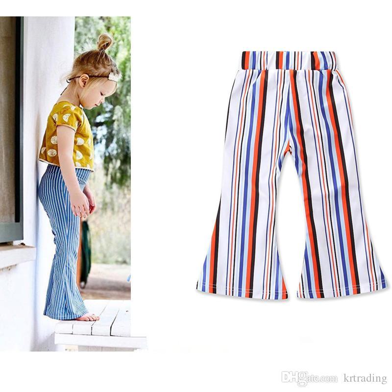 Moda da menina listrado bell-bottoms 2 cores pinto de algodão rainbow stripe flared calças jeans crianças para crianças 2-7 T