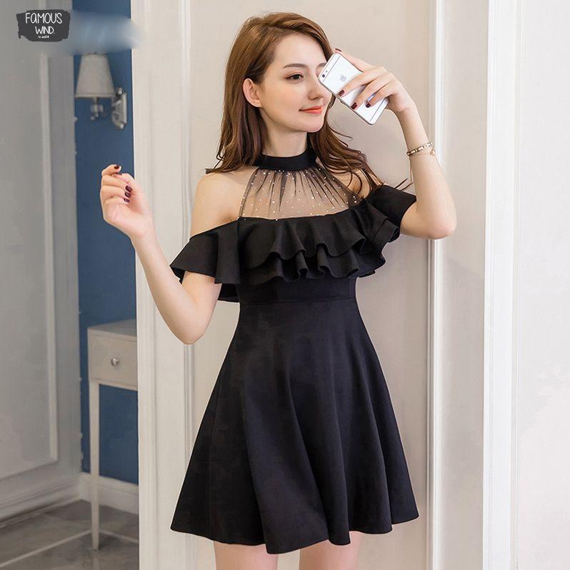 Elegant Off Shoulder Dress Summer S-Xxl Korean Hipster Black White Vestido Mujer Sexy Slim Shirt Dresses A Line Dresses Dropship