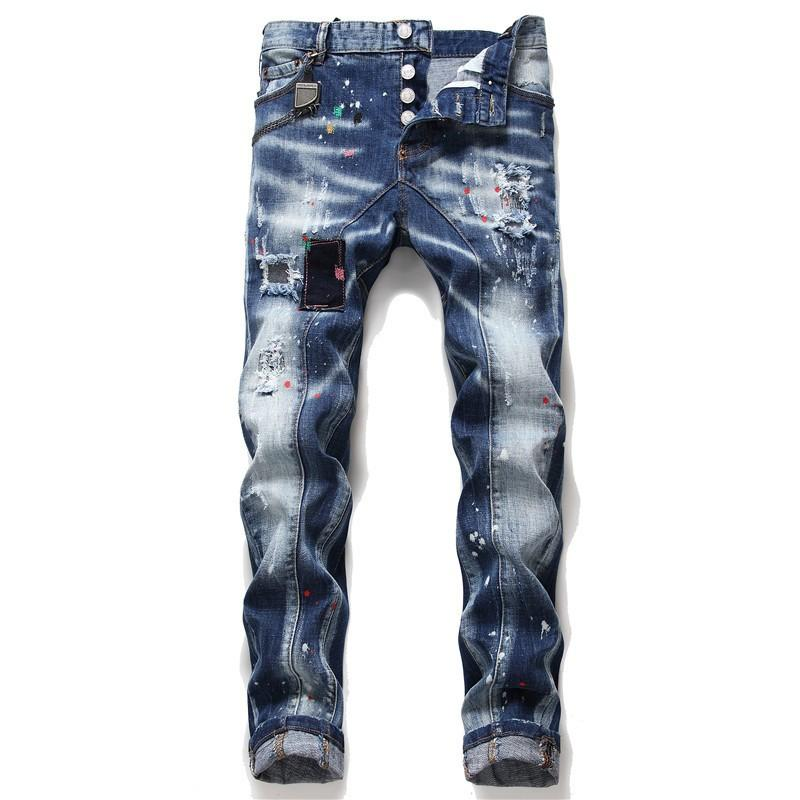 Mens Distressed Rips Stretch Black Blue Jeans Fashion Designer Slim Fit Washed Motocycle Denim Pants Panelled Hip HOP Trousers 3253