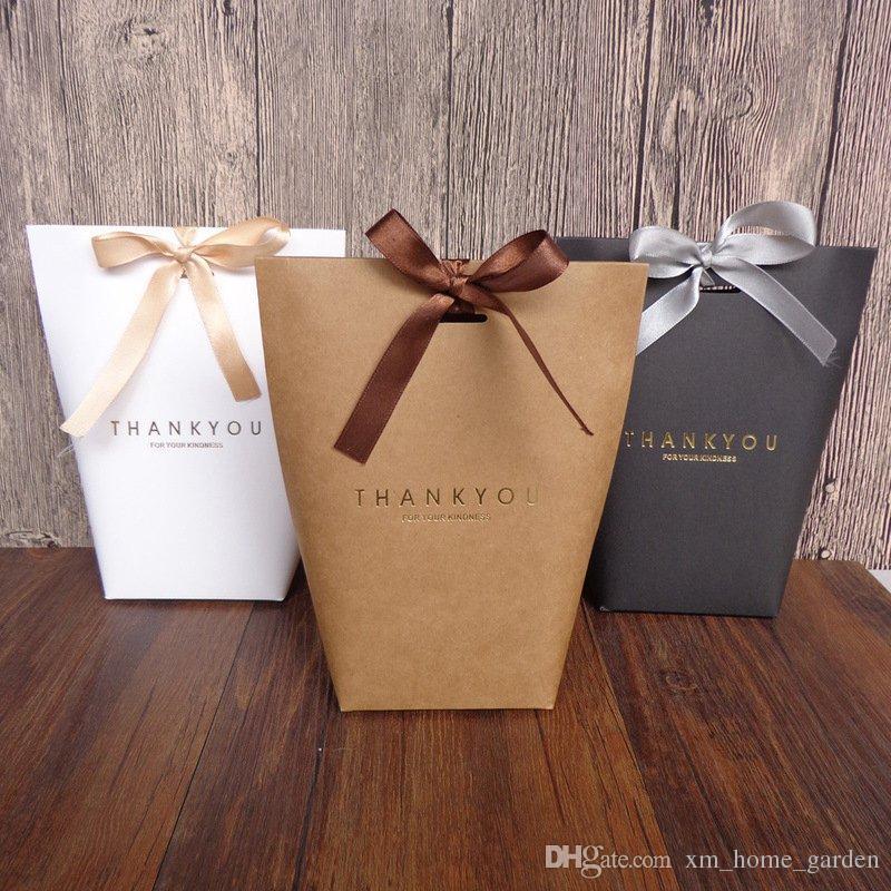 Merci Merci cadeau Wrap sac cadeau fête de mariage Birthiday Favors Sacs main Sac Item bonbons bijoux cravate Emballage boîte Pliable