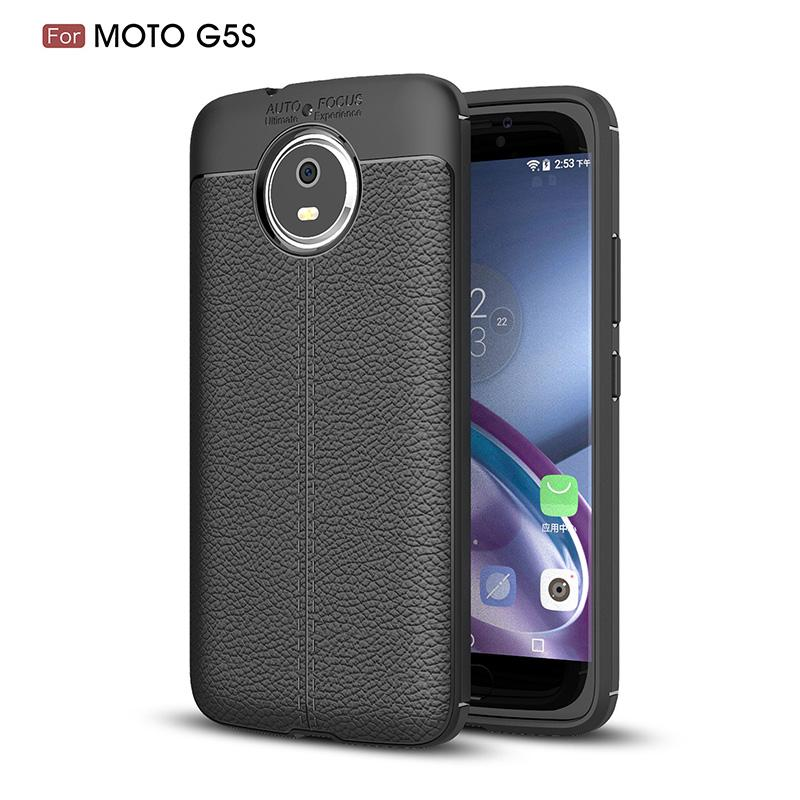 Slim Fit Ultra Thin Carbon Fiber Case for Moto G5S Leather PU Soft TPU Silicone Rubber Bumper Shockproof Phone Back Cover