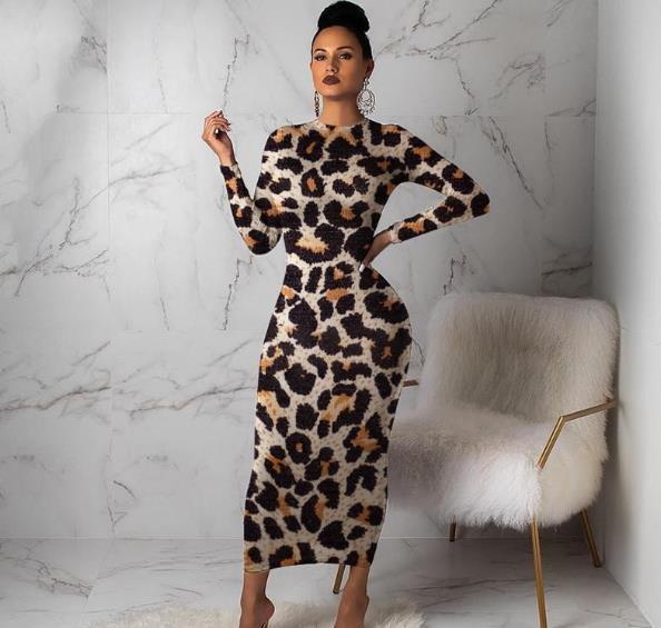 Leopard gedruckt Womens Designer-Kleider Art und Weise dünne lange Hülsen-beiläufige Kleider der Frauen Bodycon Kleider