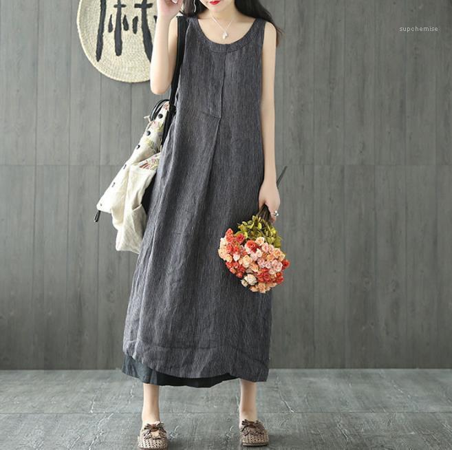 Keten Elbiseler Mürettebat Boyun Kolsuz Relaxed Midi Kadın Giyim Günlük Edebiyat Stil Moda Giyim Kadın Yaz Çizgili