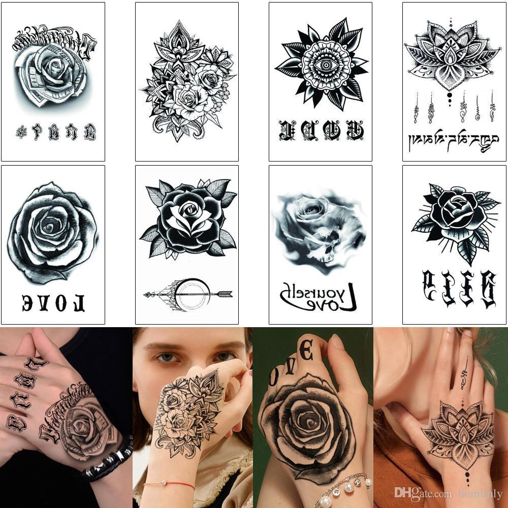 Rose Flower Sticker Tattoo 3d Fake Black Henna Flower Word Love Design For Woman Man Hand Finger Body Art Makeup Waterproof Temporary Tattoo Skull