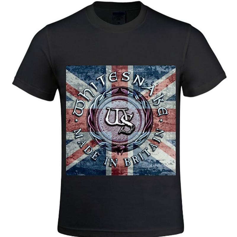 Moda logo stampa magliette Whitesnake Made In Britain World Record Camicia da uomo girocollo Cool