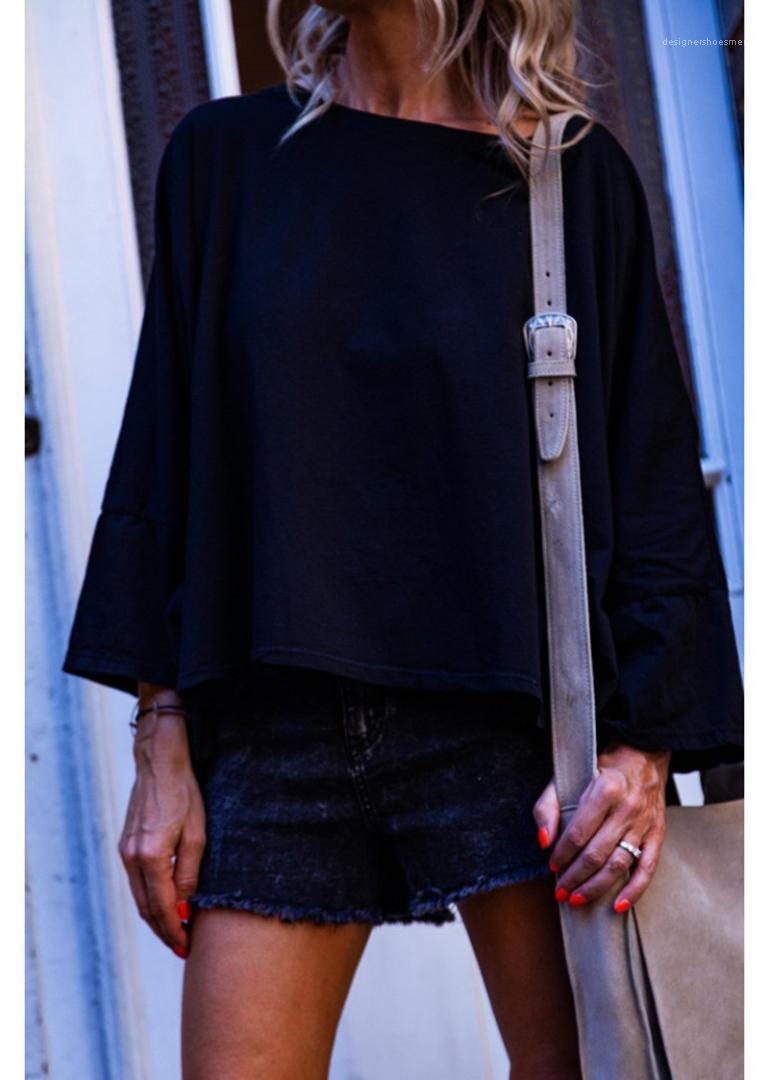 Le femmine Abbigliamento Indietro Pugno Stampa progettista delle donne a maniche lunghe magliette allentato casuale Lanterna manica Femmine Tees