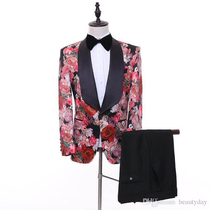 실제 이미지 결혼식 턱시도 어깨 걸이 옷깃 인쇄 장미 꽃 신랑 남자 정장 결혼식 댄스 파티 최고의 남자 재킷 (재킷 + 바지 + 바지) 맞춤 제작