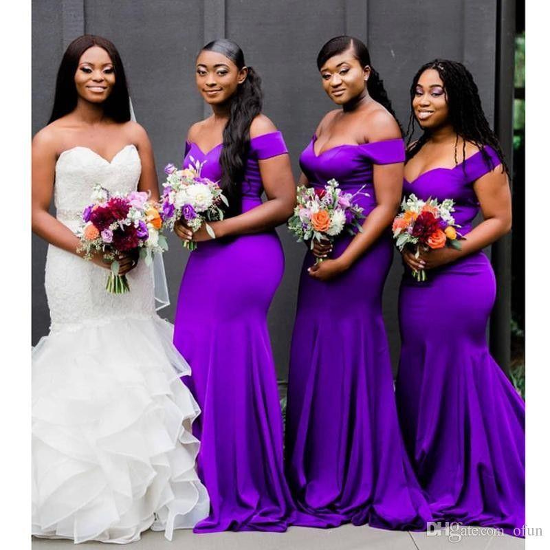 섹시한 보라색 2019 새로운 패션 머메이드 신부 들러리 숄더를 벗은 웨딩 드레스 단순한 rooves de demoiselle d 'honneur
