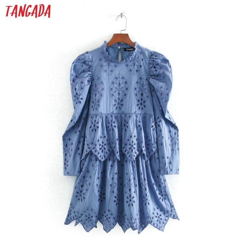 Tangada women ruffles embroidery blue cotton dress puff long sleeve back button females summer mini dresses vestidos CE218