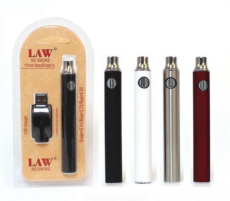 1100 MAH 예열 VV Vape 펜 법률 예열 배터리 Variavle 전압 510 실 카트리지 +의 USB 충전기 물집 포장 키트
