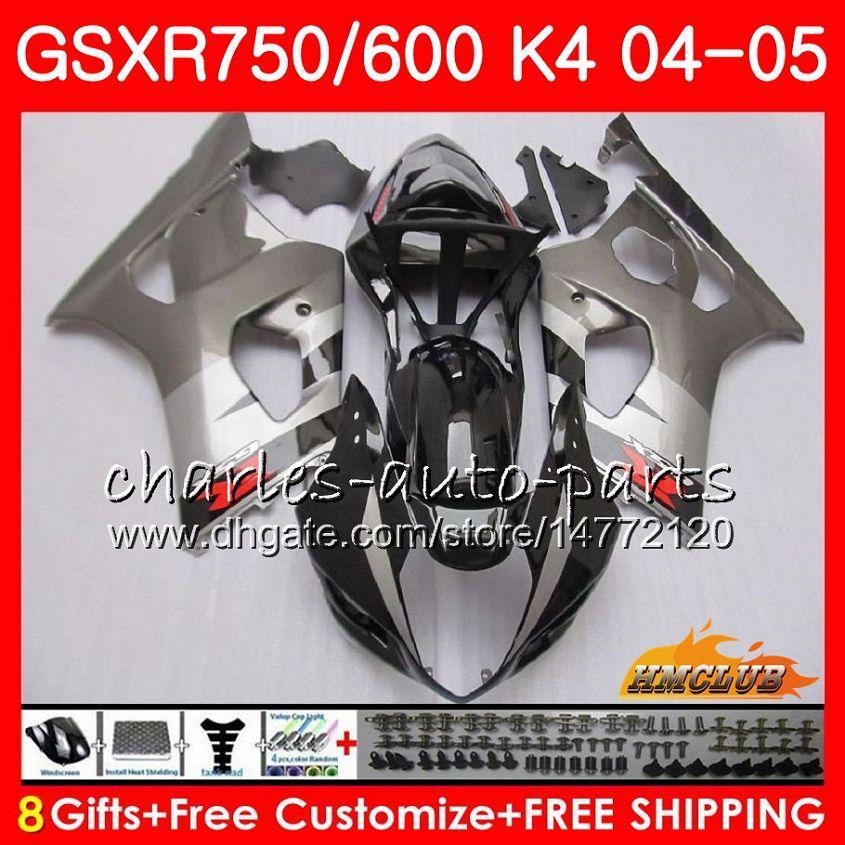 Kit für SUZUKI GSX R600 R750 GSXR600 GSX-R750 silber GSXR 600 750 04 05 7HC.2 GSXR-750 GSXR750 K4 GSXR-600 04 05 2004 2005 Verkleidung