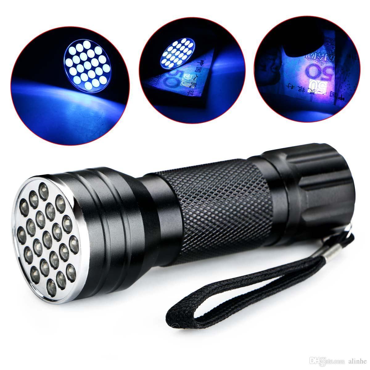 UV Ultra Violet 21 LED 395nm Flashlight Mini Blacklight Aluminum Torch Lamp UK