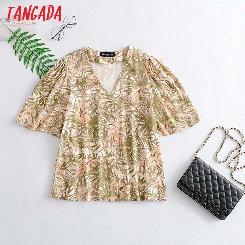 Tangada kadınlar kısa şık kadın üstleri 3A25 manşon gevşek gömlek yaz bluz Büzgülerden yazdırmak Retro