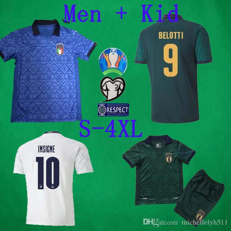 2020 إيطاليا لكرة القدم الفانيلة 20 21 ITALIA Verratti ديل بييرو متحرك INSIGNE كرة القدم الفانيلة S - زي 4XL MAN قمصان كرة القدم KIDS كرة القدم