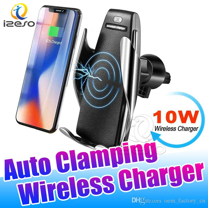 S5 Auto Car Mount Wireless Charger 10W Fast Charging Adapter Car Phone Holder for iPhone 11 Pro Samsung A91 with Retail Package izeso