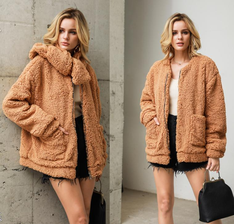 Scarf removable collar long sleeve hairy winter warm casual women pocket lambswool jacket coat