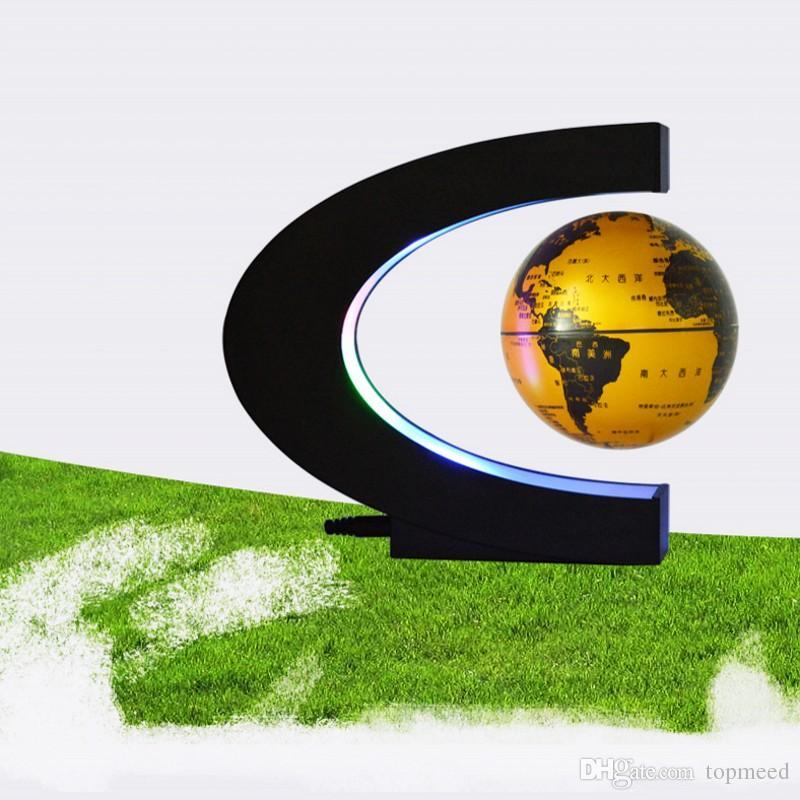 Novidade Led noite Floating Globe levitação magnética Luz C Forma LED World Map Antigravity Magia / Novel Lamp aniversário Início dezembro