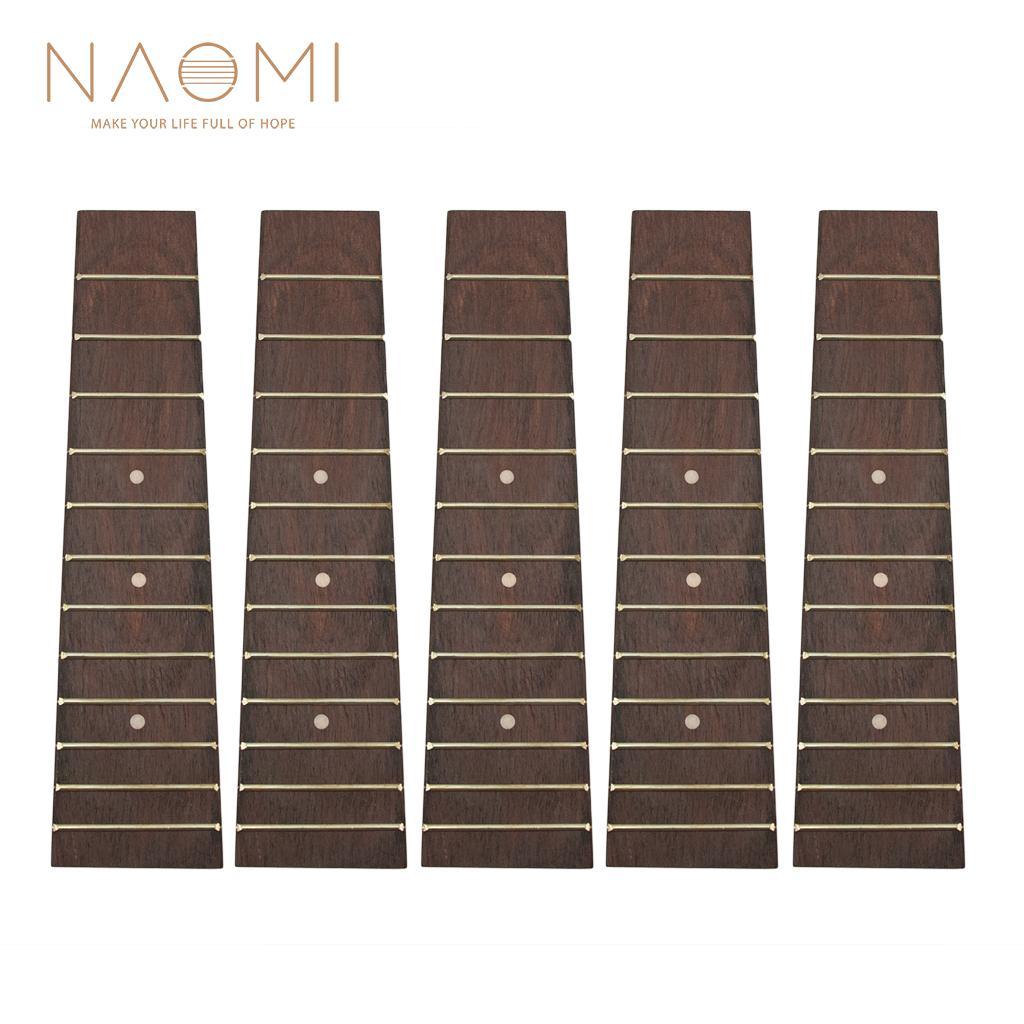NAOMI 5 stücke Ukulele Griffbrett Palisander Griffbrett Für 21 Zoll Sopran Ukulele 4 String Gitarre DIY Hohe Qualität Ukulele Teile