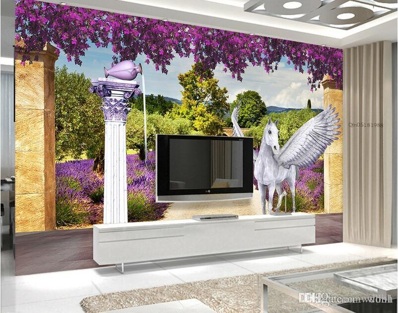 3d wallpaper custom photo Non-woven mural dream lavender flying horse decor painting picture 3d wall muals wall paper for walls 3 d