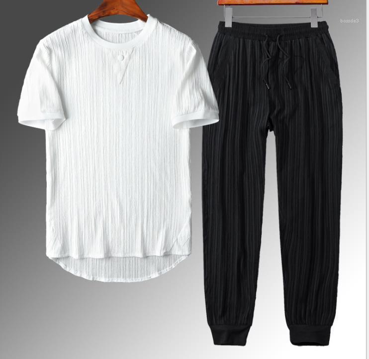 Mens 2pcs sistemas O manga corta cuello Dos Piezas Adolescente chino chándales Moda Loose trajes de verano de seda del hielo
