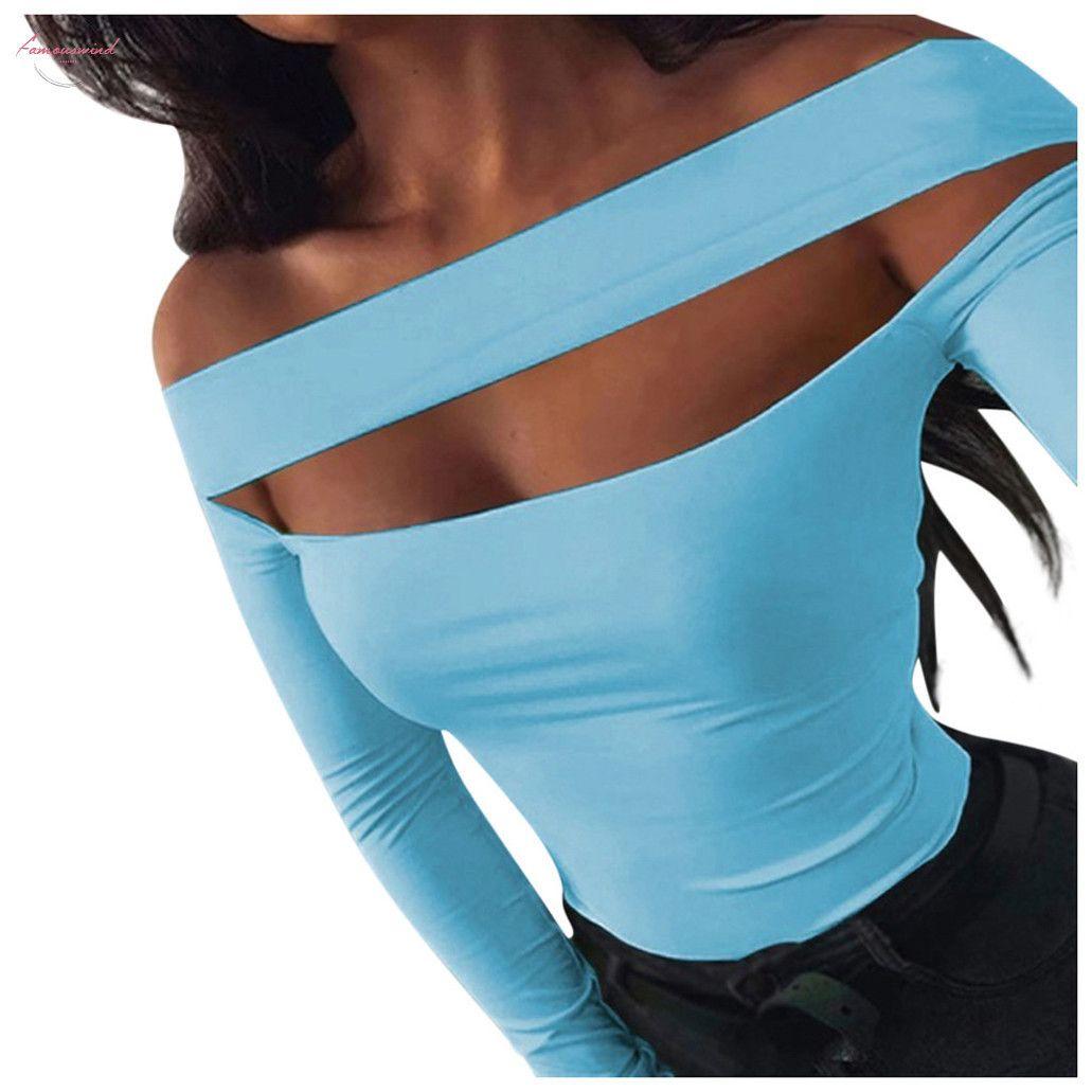 Sexy fuori dalla spalla Donna Top Per manica lunga Donna Primavera scava fuori delle magliette delle magliette delle donne casuali Solid T casuale