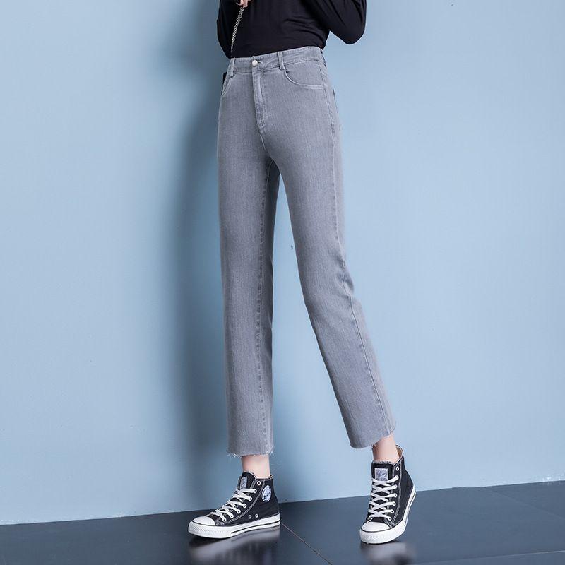et l'été 2020 nouveaux jeans bord de style petit tube droit des femmes taille élastique souple et élastique mince 20601