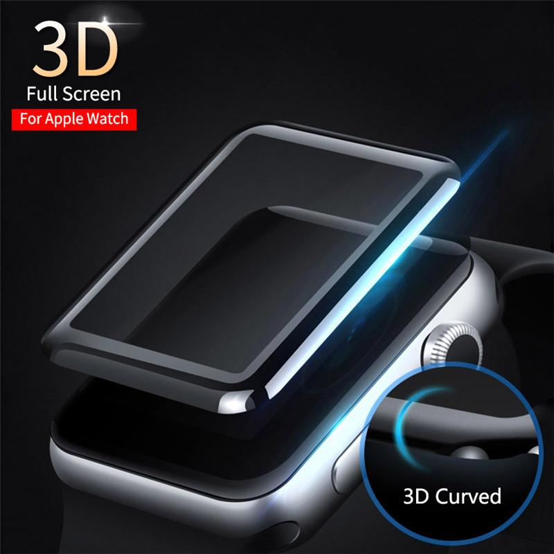 3D Curved Edge HD Watch Tempered Glass Protective Film for Apple Watch Series 3 2 1 38MM 42MM Screen Protector for iWatch 4/5 40MM 44MM