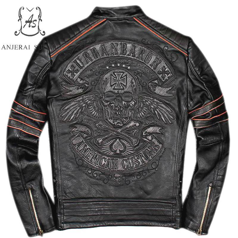 Artı Boyutu hakiki Retro yapımı inek deri ceket erkekler siyah punk vintage Işlemeli Kafatasları yıpranmış Motosiklet bombacı ceketler coat