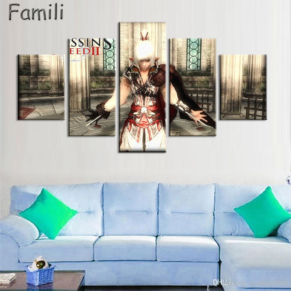 Modern Wall Art Painting Canvas HD Print 5Panel Poster Assassins Creed Superstar Movie Modular Pictures Home Decor UNFrame