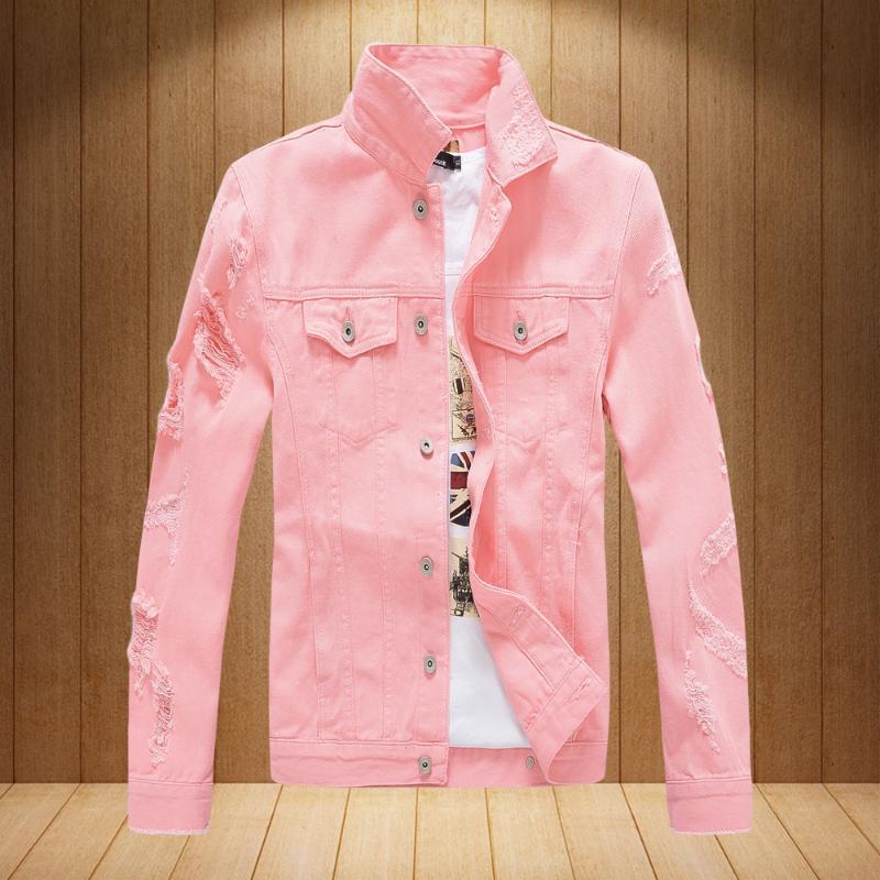 Mens Hip Fashion Streetwear Jacket Vestes Blanc Hommes Jeans déchiré Hop Hop Coréen manteau Hommes Rose Vêtements Marque Denim Red Black XXXL Scdrl