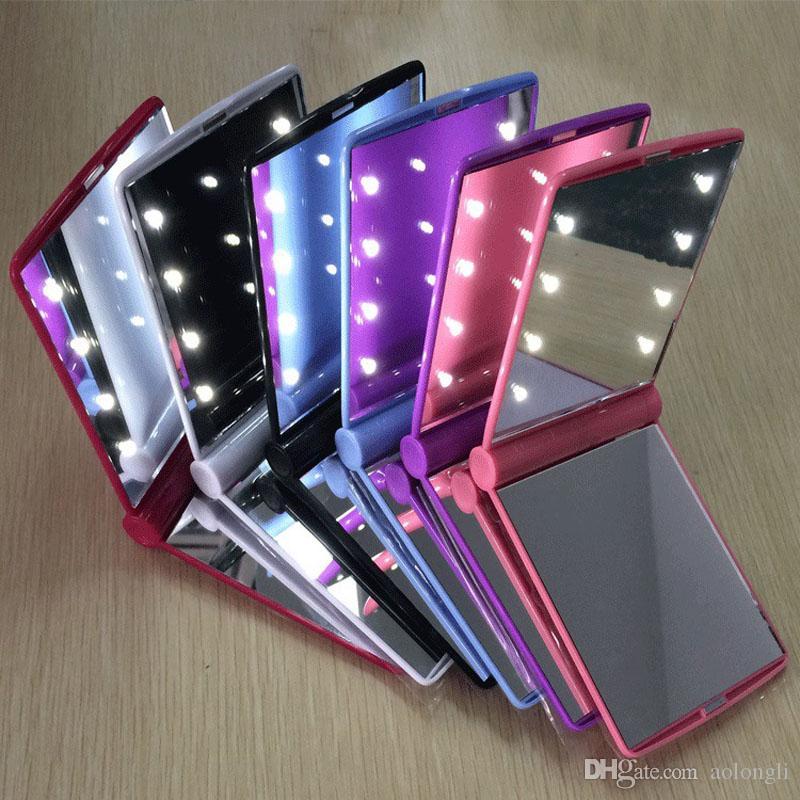 حار جديد سيدة الصمام ماكياج مرآة التجميل 8 الصمام مرآة للطي المحمولة السفر المدمجة الجيب الصمام أضواء مصابيح المرآة