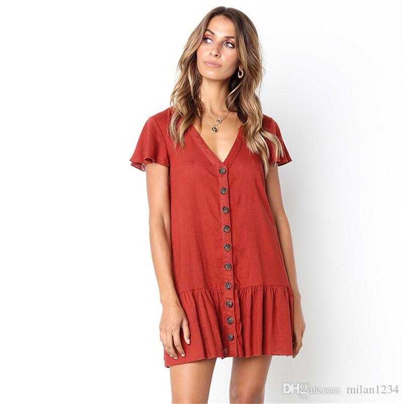 Women Short Sleeve Ladies Evening Party Cocktail Ruffle Beach Skater Shirt Dress